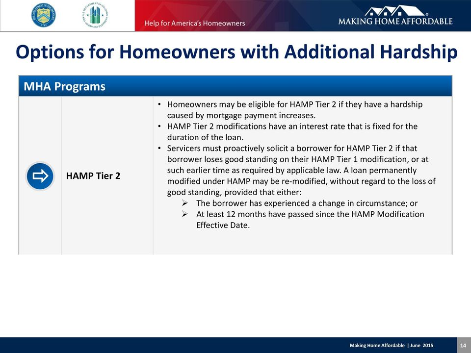Servicers must proactively solicit a borrower for HAMP Tier 2 if that borrower loses good standing on their HAMP Tier 1 modification, or at such earlier time as required by