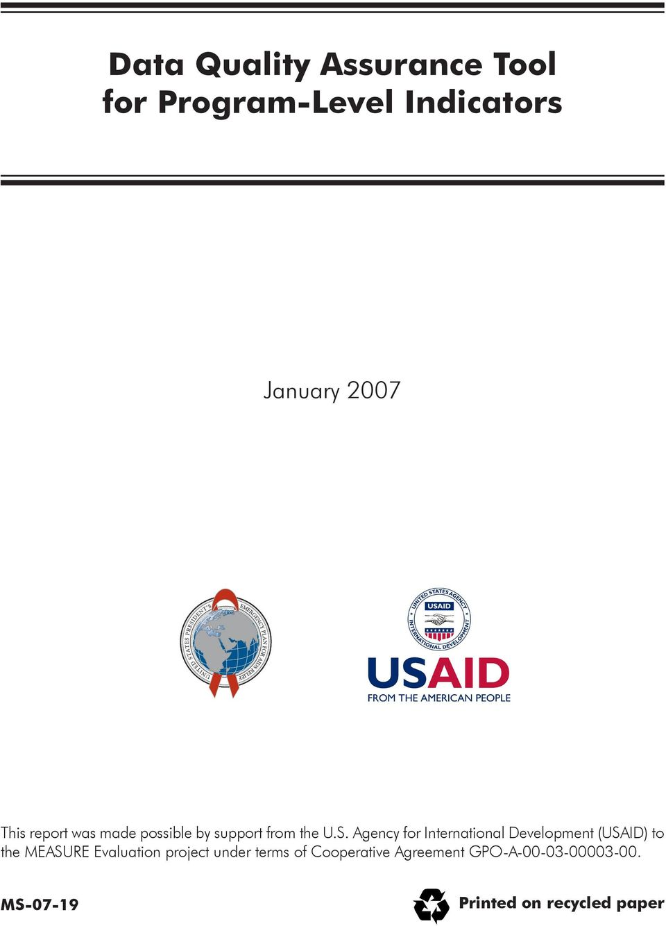 Agency for International Development (USAID) to the MEASURE Evaluation