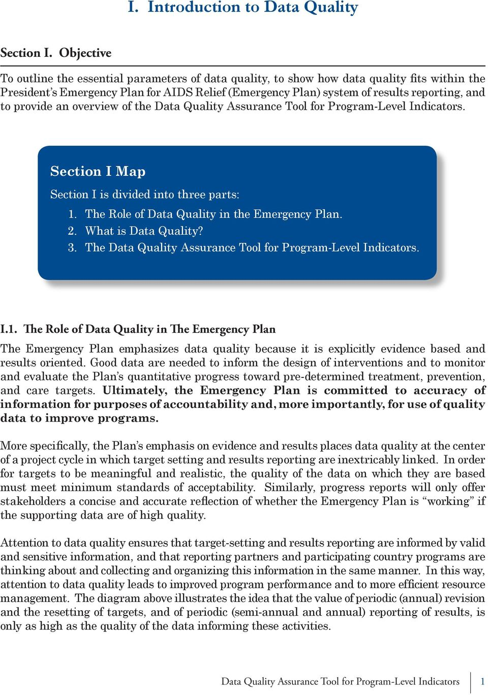 provide an overview of the Data Quality Assurance Tool for Program-Level Indicators. Section I Map Section I is divided into three parts: 1. 2. 3. The Role of Data Quality in the Emergency Plan.