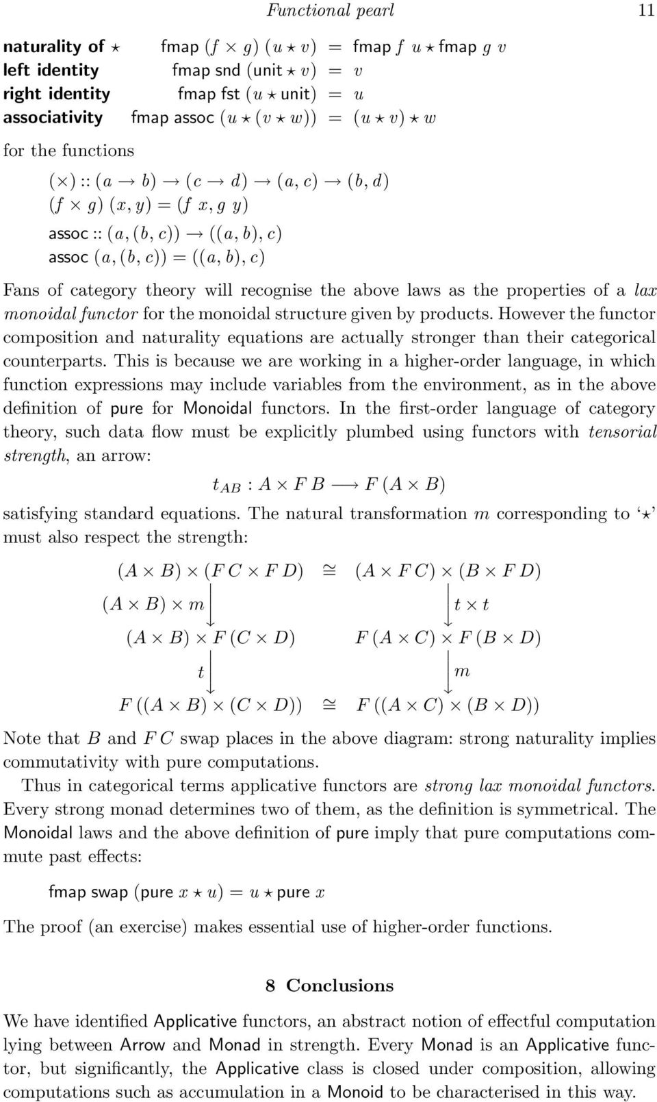 properties of a lax monoidal functor for the monoidal structure given by products. However the functor composition and naturality equations are actually stronger than their categorical counterparts.