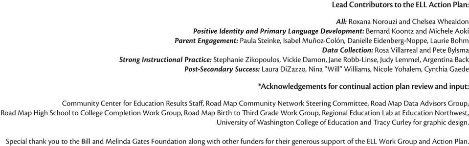 Judy Lemmel, Argentina Back Post-Secondary Success: Laura DiZazzo, Nina Will Williams, Nicole Yohalem, Cynthia Gaede *Acknowledgements for continual action plan review and input: Community Center for