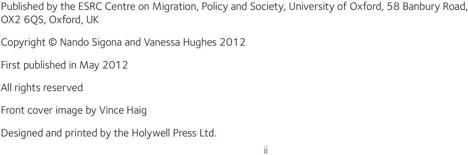 Vanessa Hughes 2012 First published in May 2012 All rights reserved Front