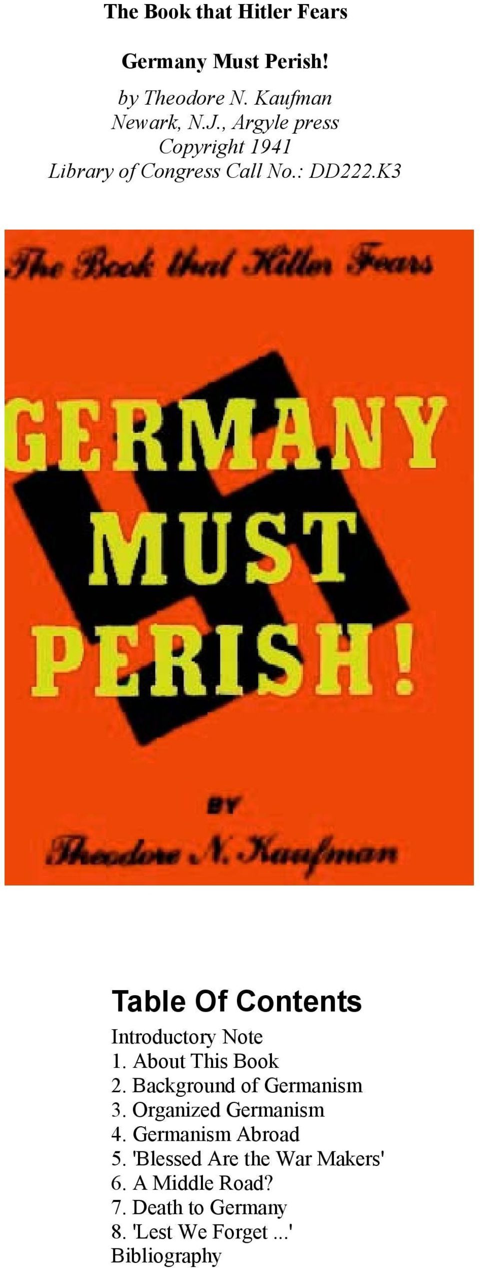 K3 Table Of Contents Introductory Note 1. About This Book 2. Background of Germanism 3.