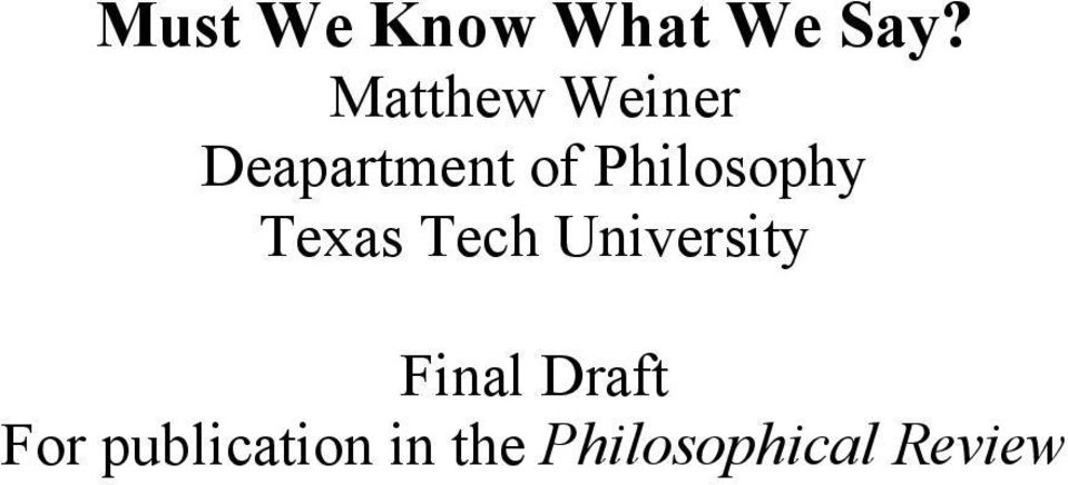 Philosophy Texas Tech University