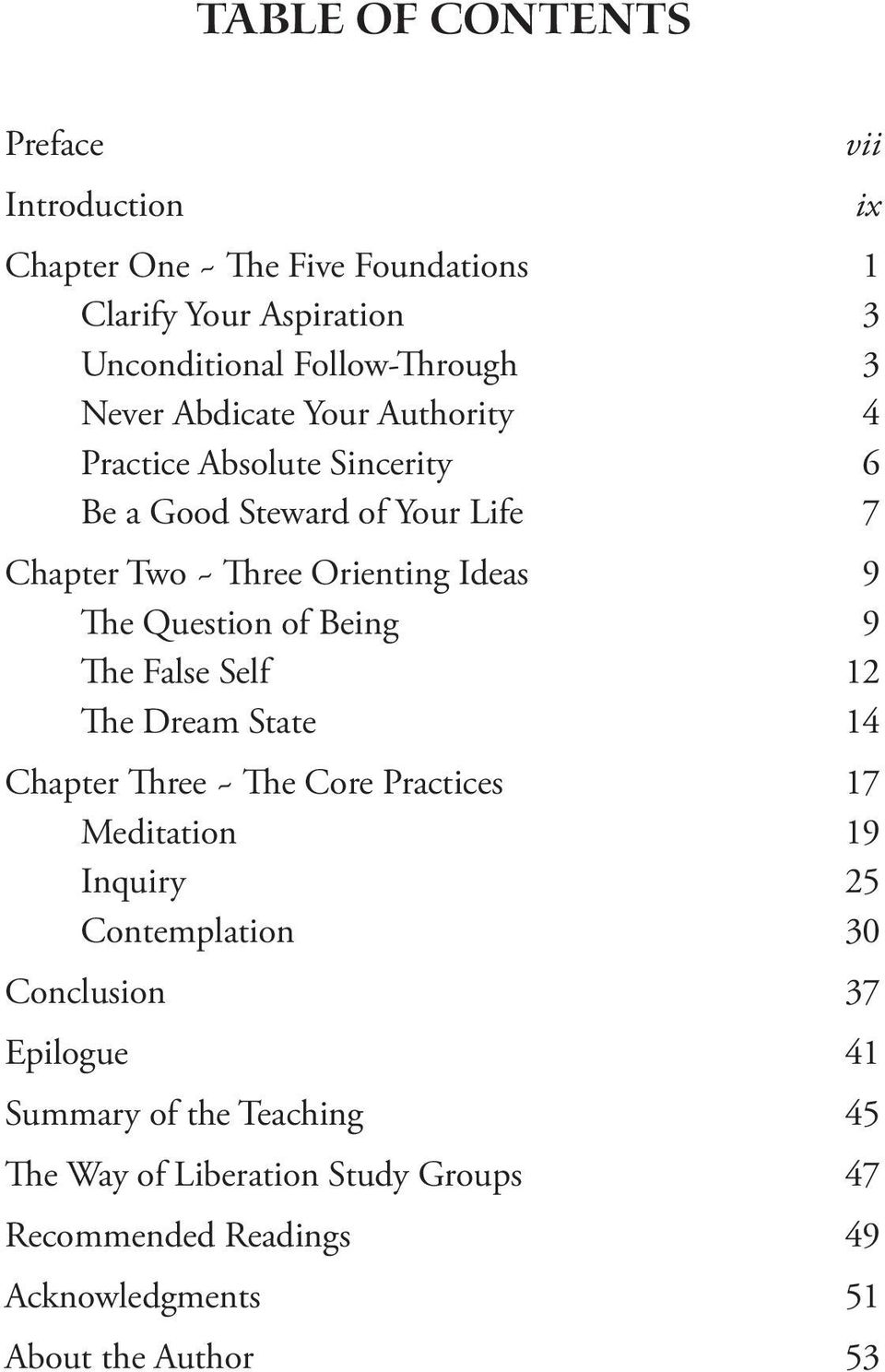 of Being 9 The False Self 12 The Dream State 14 Chapter Three ~ The Core Practices 17 Meditation 19 Inquiry 25 Contemplation 30 Conclusion