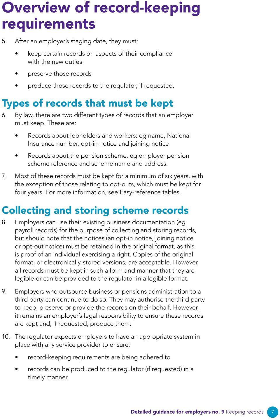 Types of records that must be kept 6. By law, there are two different types of records that an employer must keep.