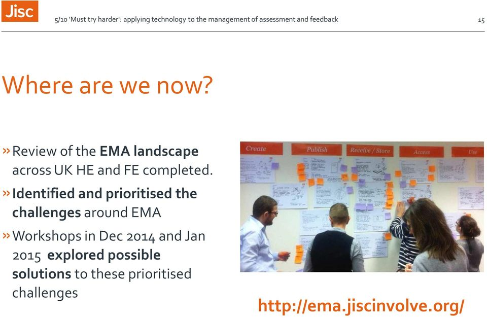 »identified and prioritised the challenges around EMA»Workshops