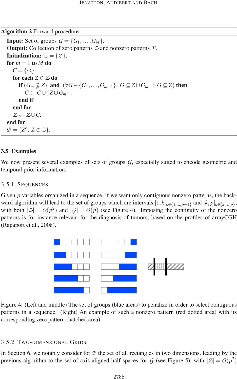 5 Examples We now present several examples of sets of groups G, especially suited to encode geometric and temporal prior information. 3.5.1 SEQUENCES Given p variables organized in a sequence, if we want only contiguous nonzero patterns, the backward algorithm will lead to the set of groups which are intervals[1,k] k {1,.