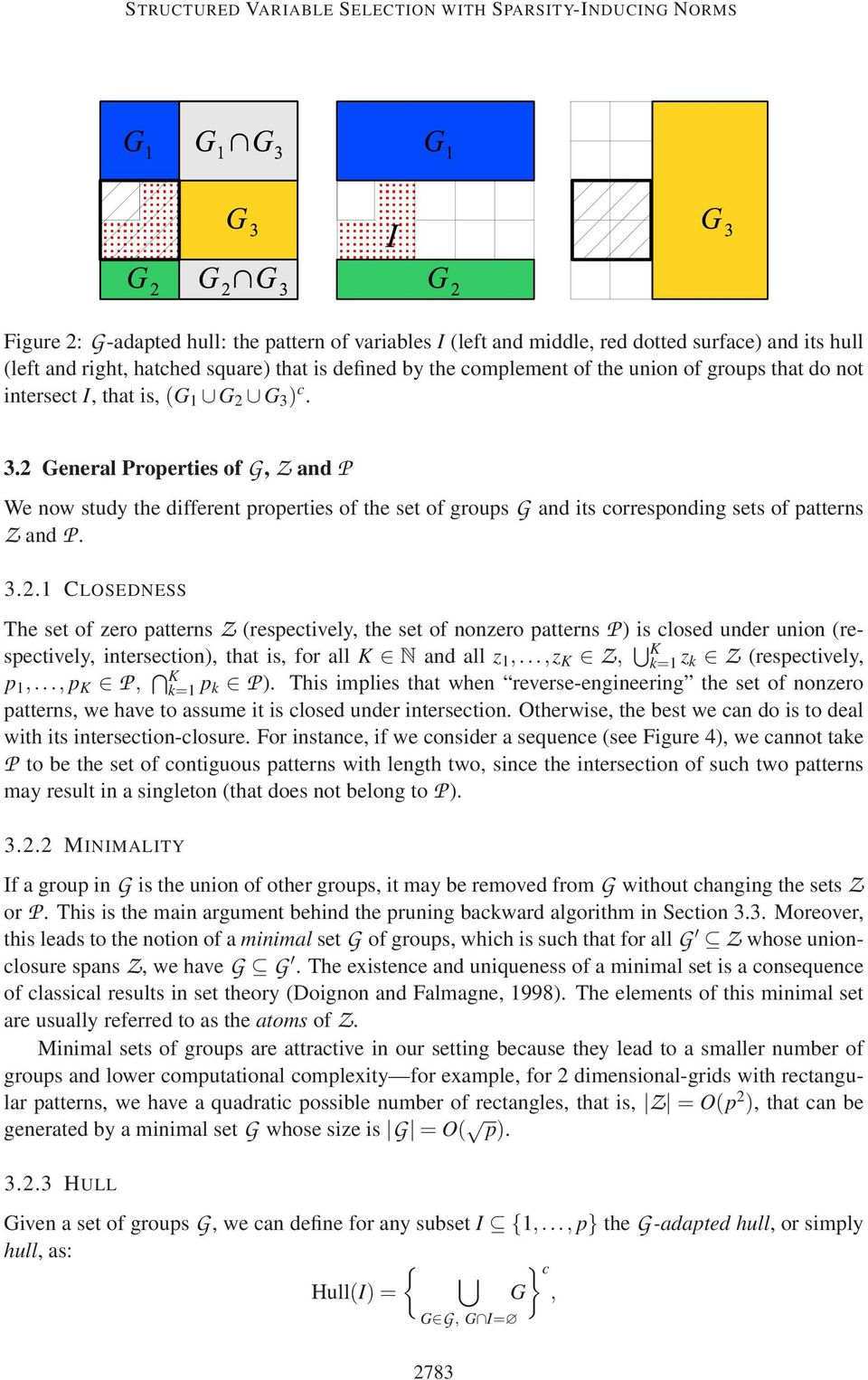 ) c. 3. General Properties ofg,z andp We now study the different properties of the set of groupsg and its corresponding sets of patterns Z andp. 3..1 CLOSEDNESS The set of zero patterns Z (respectively, the set of nonzero patterns P ) is closed under union (respectively, intersection), that is, for all K N and all z 1,.