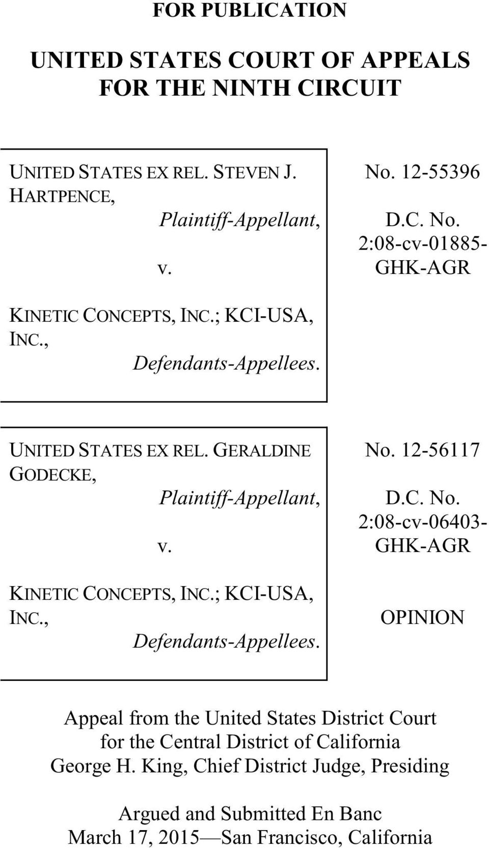 GERALDINE GODECKE, Plaintiff-Appellant, v. KINETIC CONCEPTS, INC.; KCI-USA, INC., Defendants-Appellees. No.
