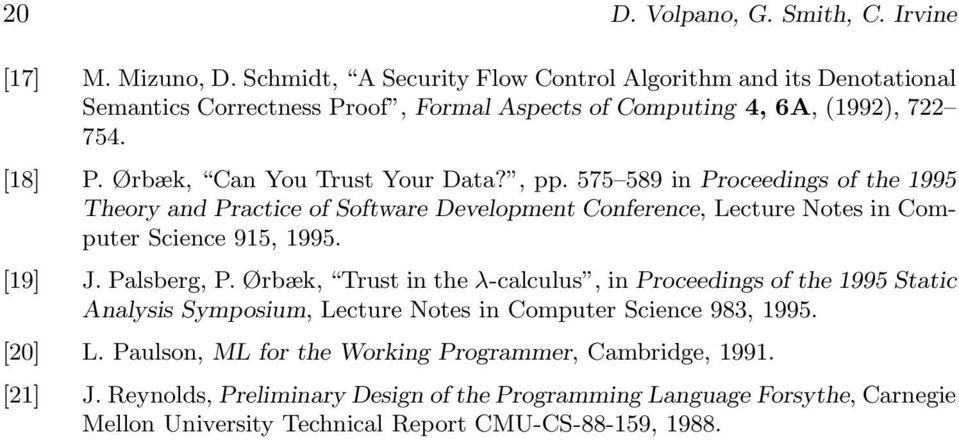 , pp. 575 589 in Proceedings of the 1995 Theory and Practice of Software Development Conference, Lecture Notes in Computer Science 915, 1995. [19] J. Palsberg, P.