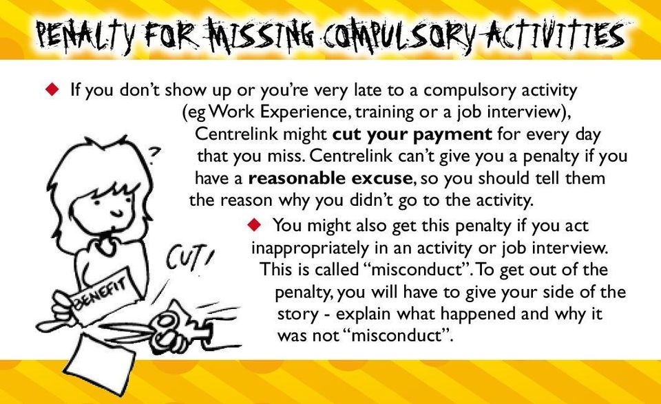 Centrelink can t give you a penalty if you have a reasonable excuse, so you should tell them the reason why you didn t go to the activity.