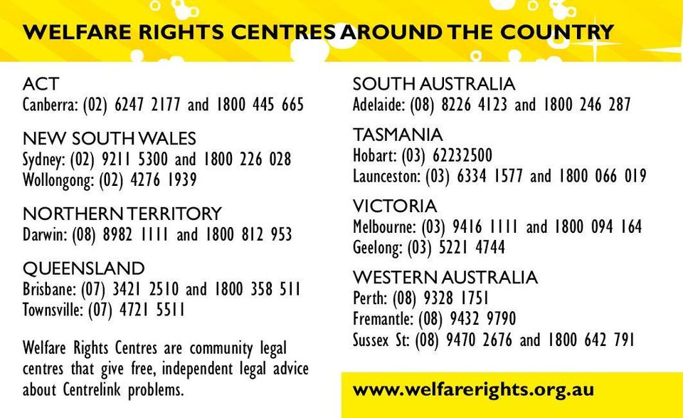 independent legal advice about Centrelink problems.