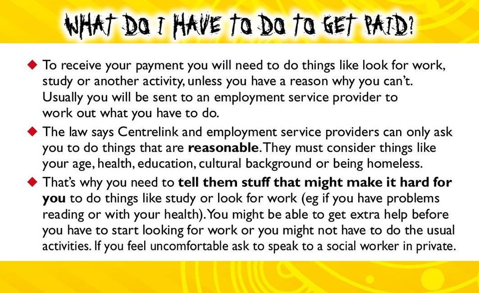 u The law says Centrelink and employment service providers can only ask you to do things that are reasonable.