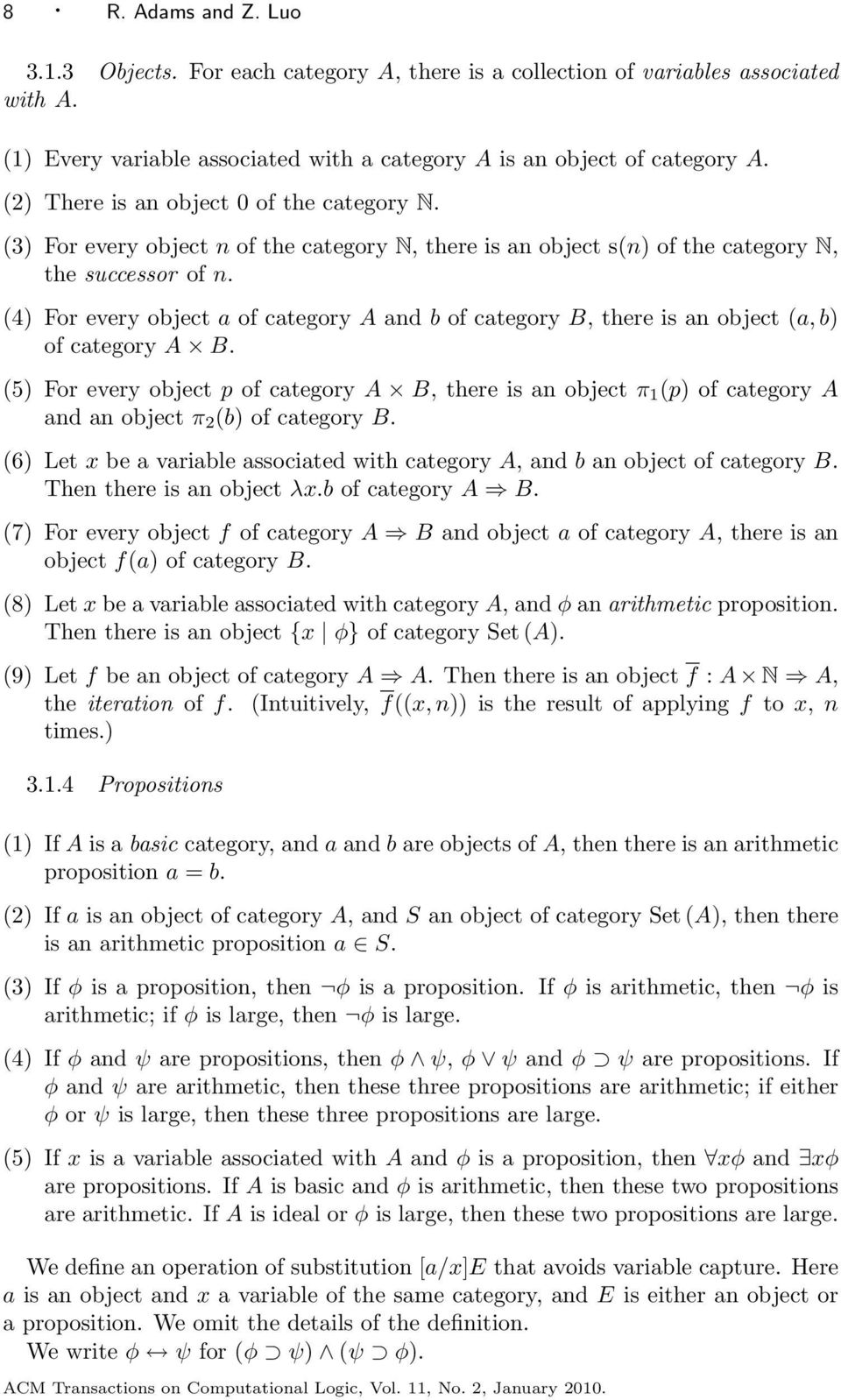 (4) For every object a of category A and b of category B, there is an object (a, b) of category A B.
