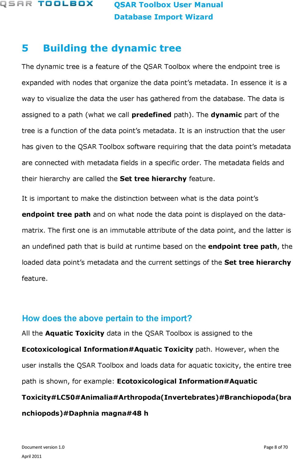 The dynamic part of the tree is a function of the data point s metadata.