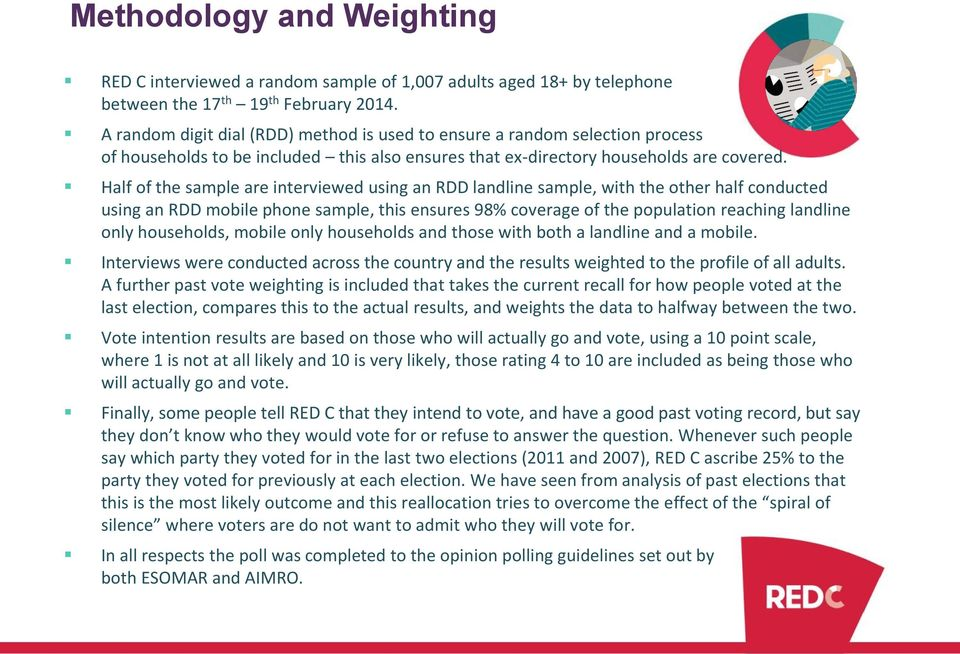 Half of the sample are interviewed using an RDD landline sample, with the other half conducted using an RDD mobile phone sample, this ensures 98% coverage of the population reaching landline only