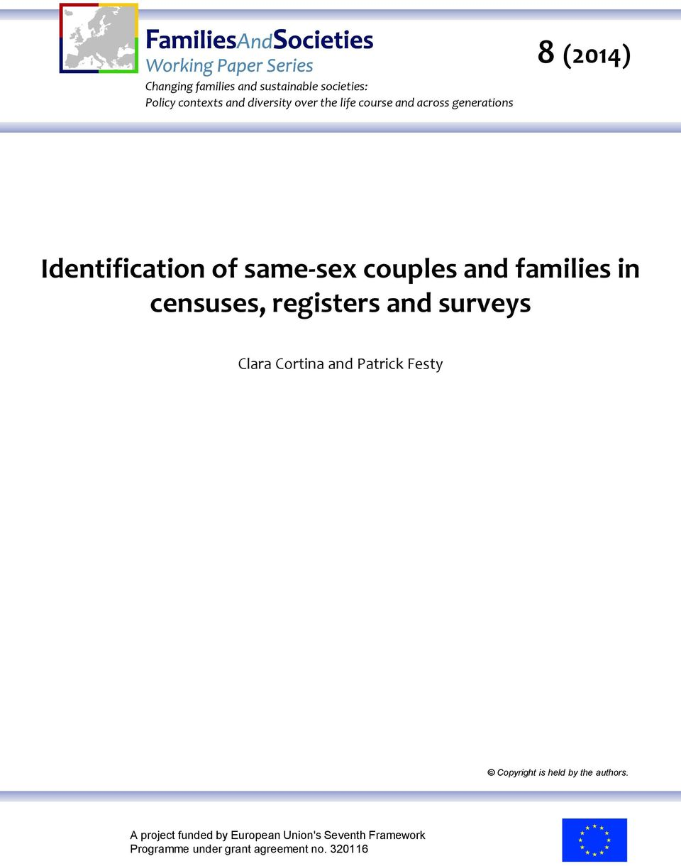 censuses, registers and surveys Clara Cortina and Patrick Festy Copyright is held by the