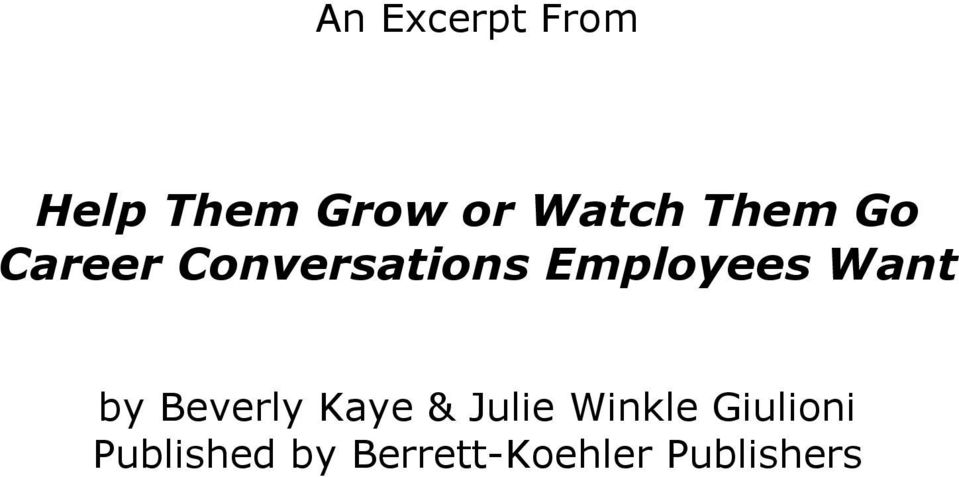 Want by Beverly Kaye & Julie Winkle
