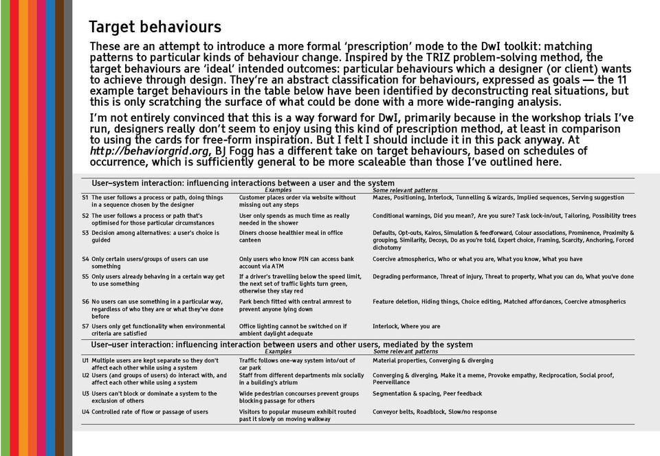 They re an abstract classification for behaviours, expressed as goals the 11 example target behaviours in the table below have been identified by deconstructing real situations, but this is only