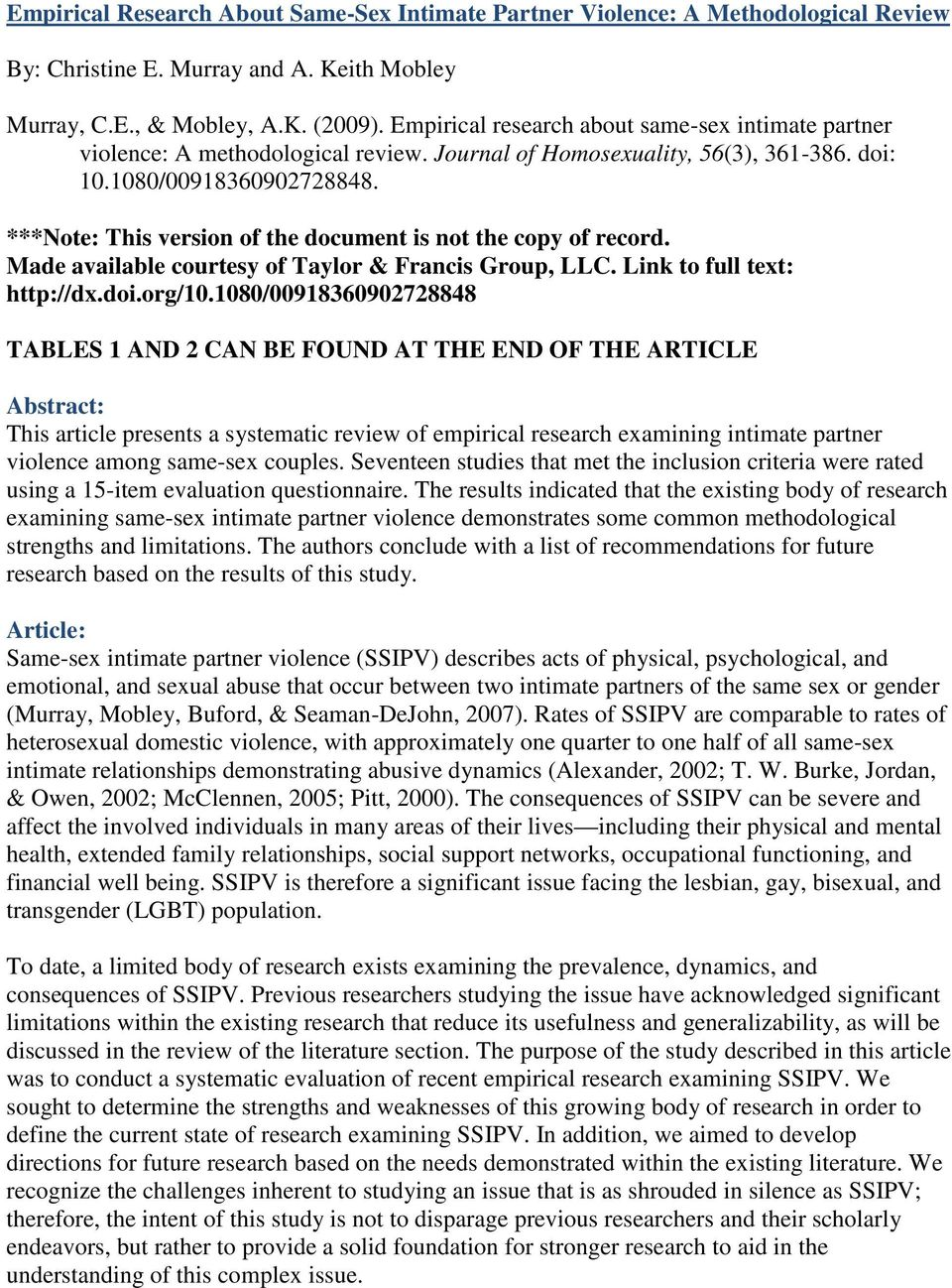 ***Note: This version of the document is not the copy of record. Made available courtesy of Taylor & Francis Group, LLC. Link to full text: http://dx.doi.org/10.