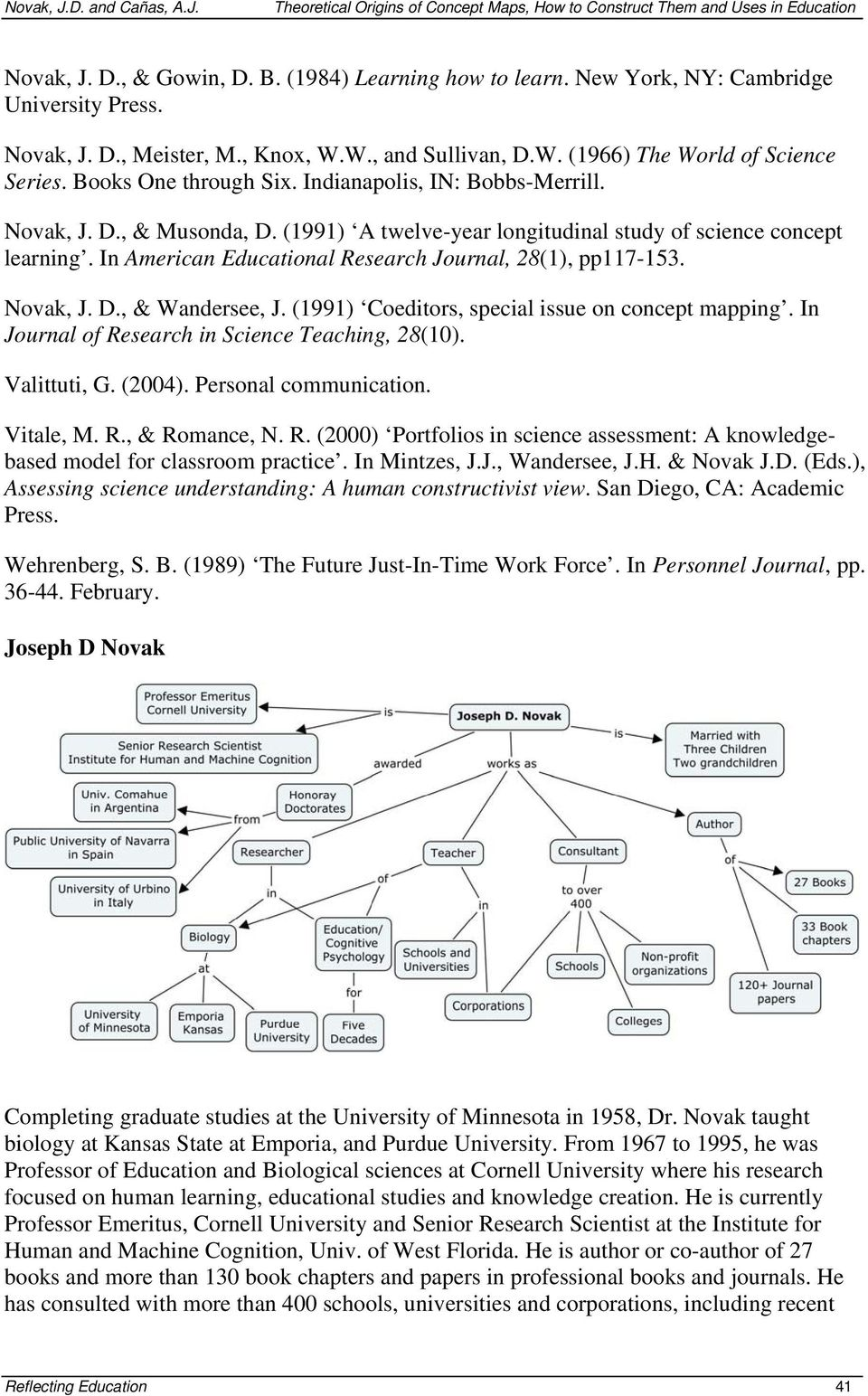 In American Educational Research Journal, 28(1), pp117-153. Novak, J. D., & Wandersee, J. (1991) Coeditors, special issue on concept mapping. In Journal of Research in Science Teaching, 28(10).
