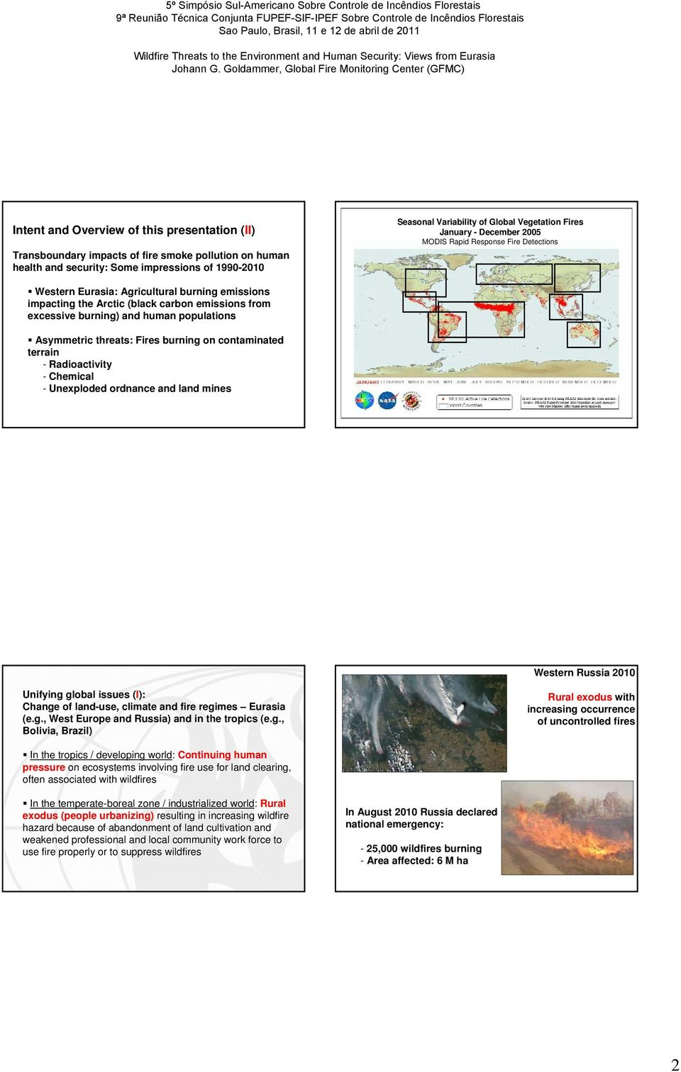 Asymmetric threats: Fires burning on contaminated terrain - Radioactivity - Chemical - Unexploded ordnance and land mines Western Russia 2010 Unifying global issues (I): Change of land-use, climate