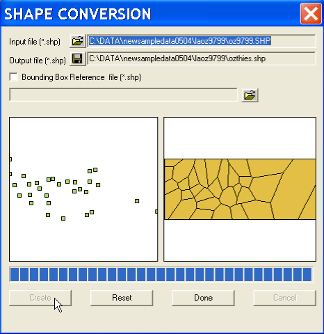 As for the polygon to point conversion, specifying the input file name yields a thumbnail outline of the point map in the left hand panel of the dialog.