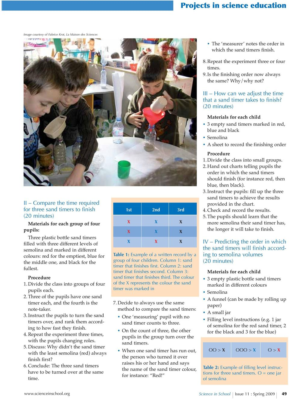 II Compare the time required for three sand timers to finish (20 minutes) Materials for each group of four pupils: Three plastic bottle sand timers filled with three different levels of semolina and