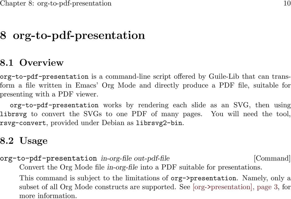 PDF viewer. org-to-pdf-presentation works by rendering each slide as an SVG, then using librsvg to convert the SVGs to one PDF of many pages.