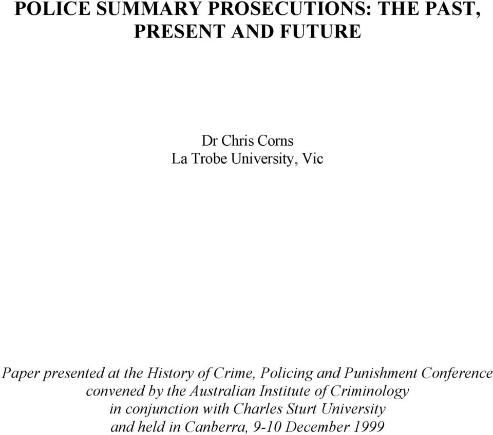Punishment Conference convened by the Australian Institute of Criminology in