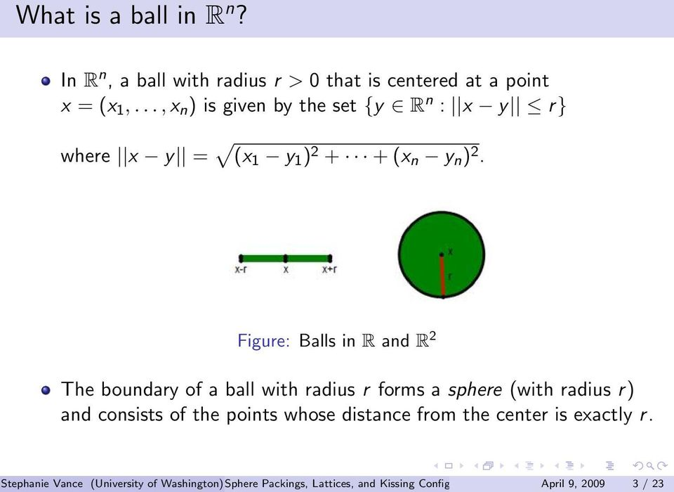 Figure: Balls in R and R 2 The boundary of a ball with radius r forms a sphere (with radius r) and consists of the