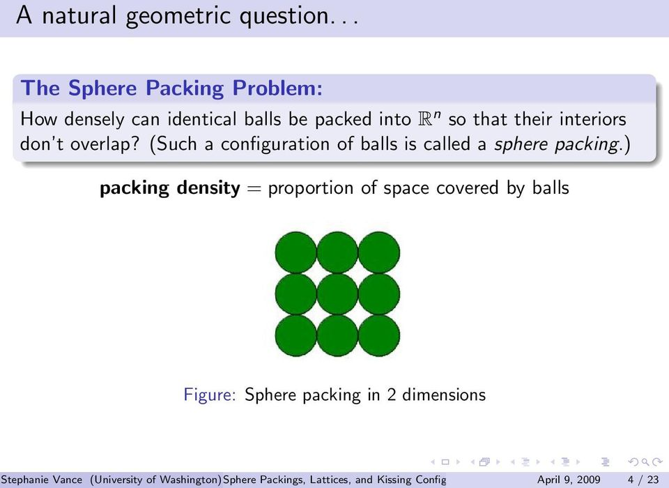 don t overlap? (Such a configuration of balls is called a sphere packing.