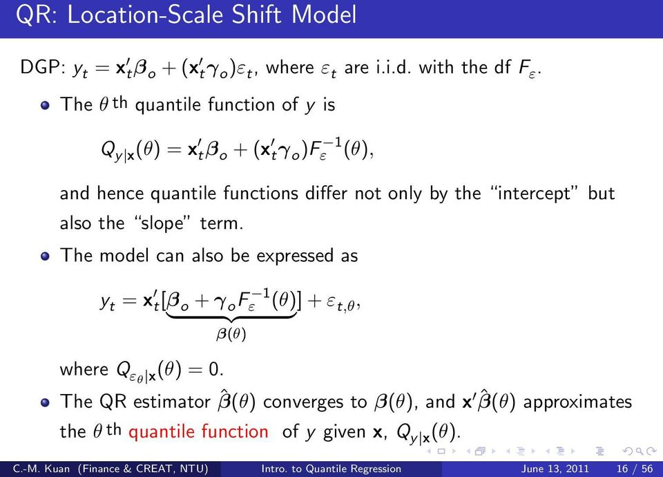 also the slope term. The model can also be expressed as y t = x t[β o + γ o Fε 1 (θ)] + ε } {{ } t,θ, β(θ) where Q εθ x(θ) = 0.