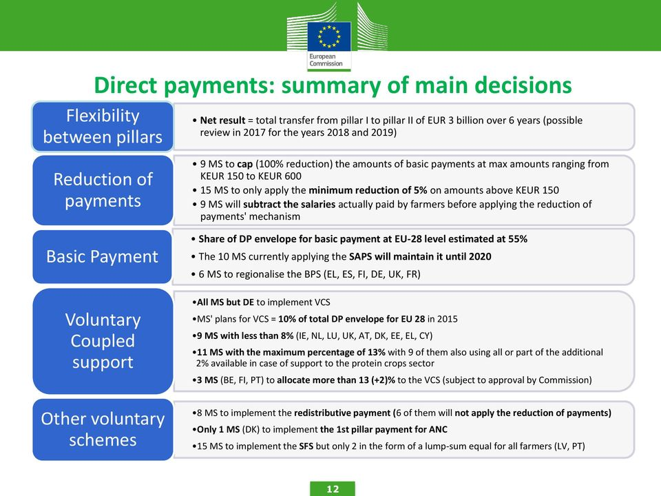 5% on amounts above KEUR 150 9 MS will subtract the salaries actually paid by farmers before applying the reduction of payments' mechanism Share of DP envelope for basic payment at EU-28 level