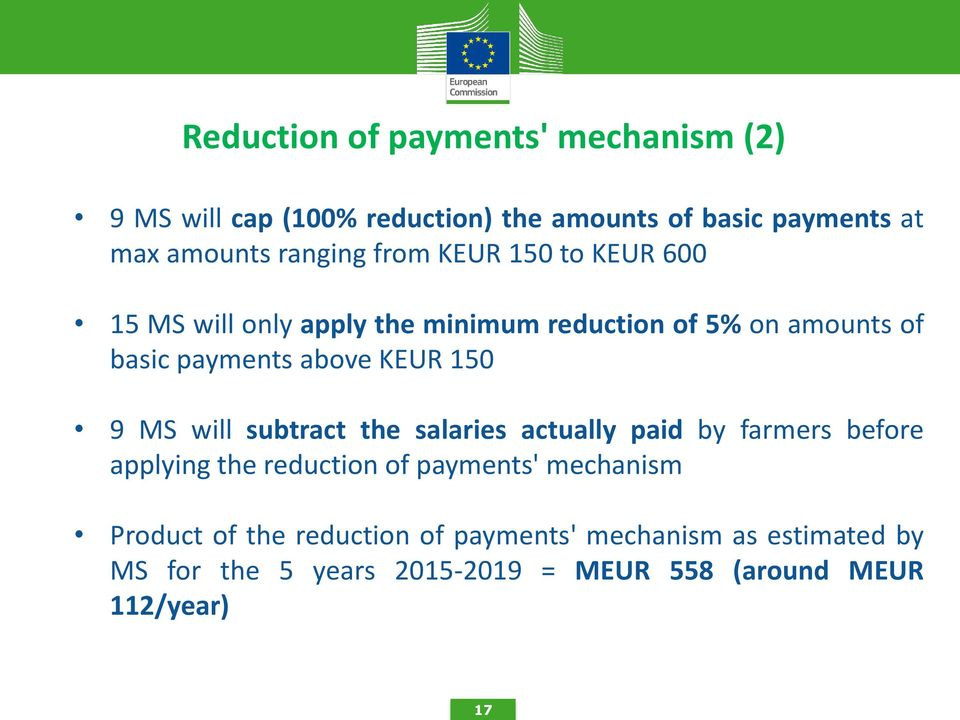 KEUR 150 9 MS will subtract the salaries actually paid by farmers before applying the reduction of payments' mechanism