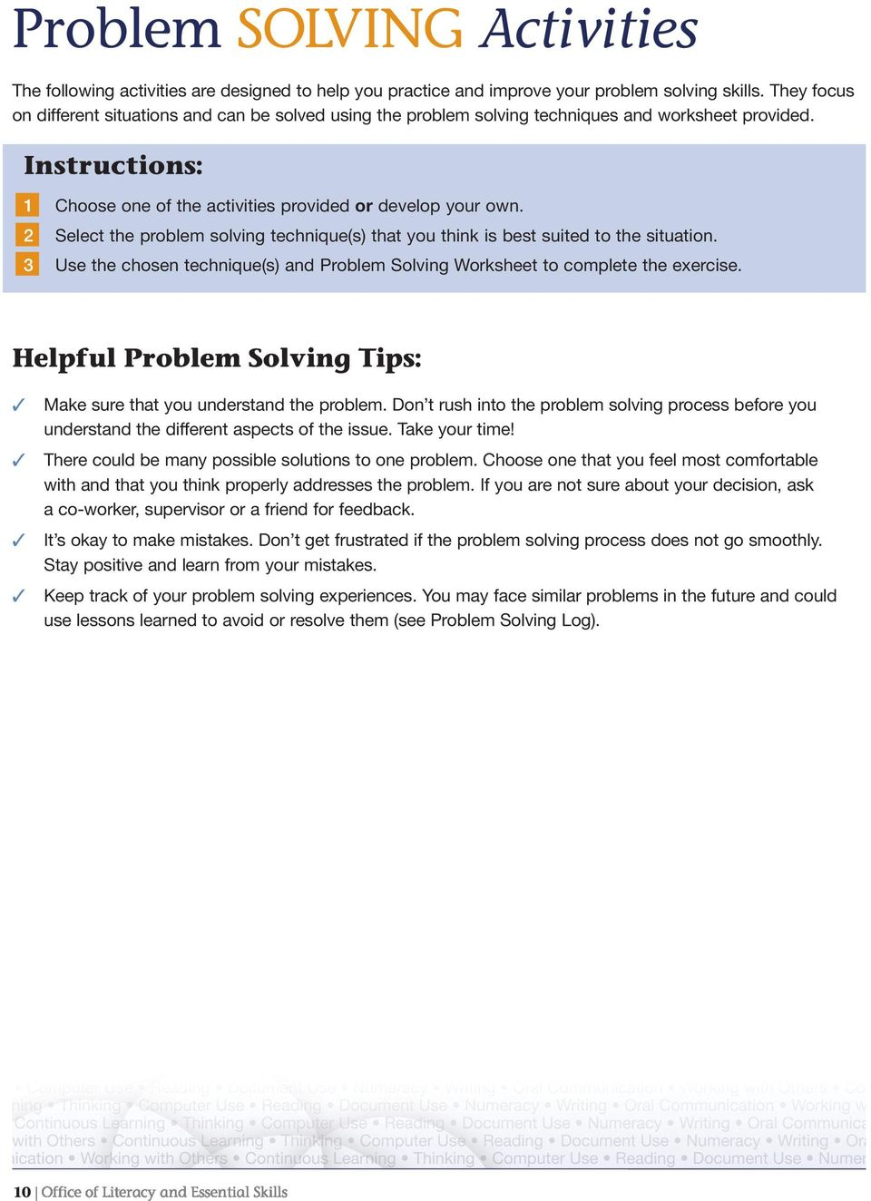 2 Select the problem solving technique(s) that you think is best suited to the situation. 3 Use the chosen technique(s) and Problem Solving Worksheet to complete the exercise.