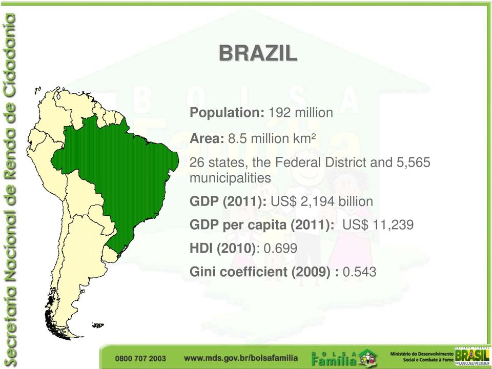municipalities GDP (2011): US$ 2,194 billion GDP per