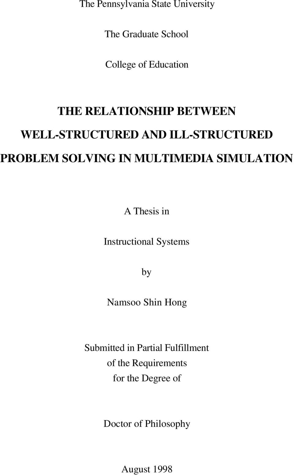 MULTIMEDIA SIMULATION A Thesis in Instructional Systems by Namsoo Shin Hong