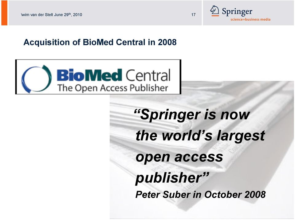 Springer is now the world s largest open