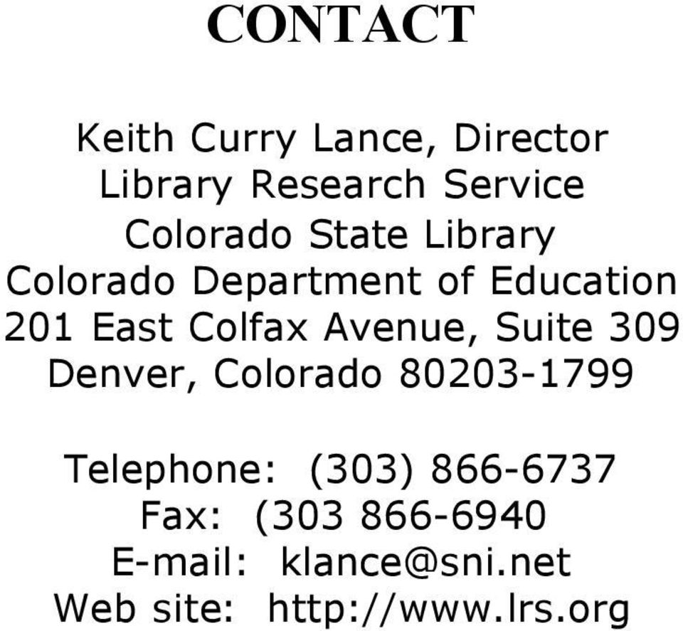 Colfax Avenue, Suite 309 Denver, Colorado 80203-1799 Telephone: