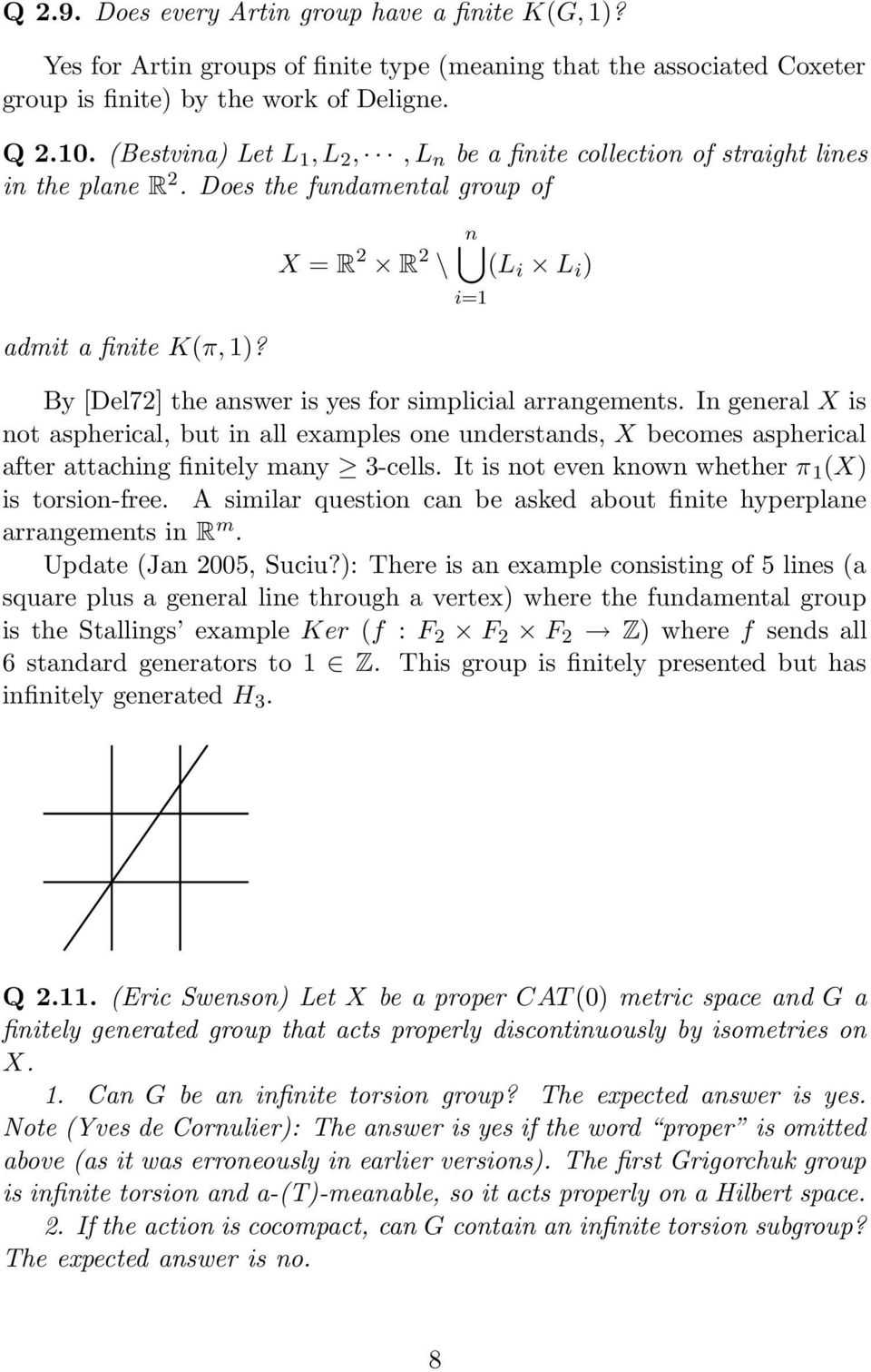 X = R 2 R 2 \ n (L i L i ) By [Del72] the answer is yes for simplicial arrangements.