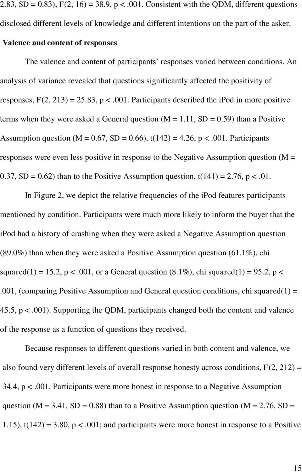 An analysis of variance revealed that questions significantly affected the positivity of responses, F(2, 213) = 25.83, p <.001.