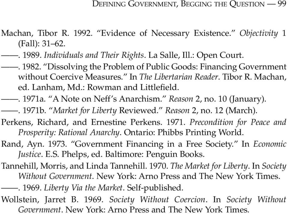 A Note on Neff s Anarchism. Reason 2, no. 10 (January).. 1971b. Market for Liberty Reviewed. Reason 2, no. 12 (March). Perkens, Richard, and Ernestine Perkens. 1971. Precondition for Peace and Prosperity: Rational Anarchy.