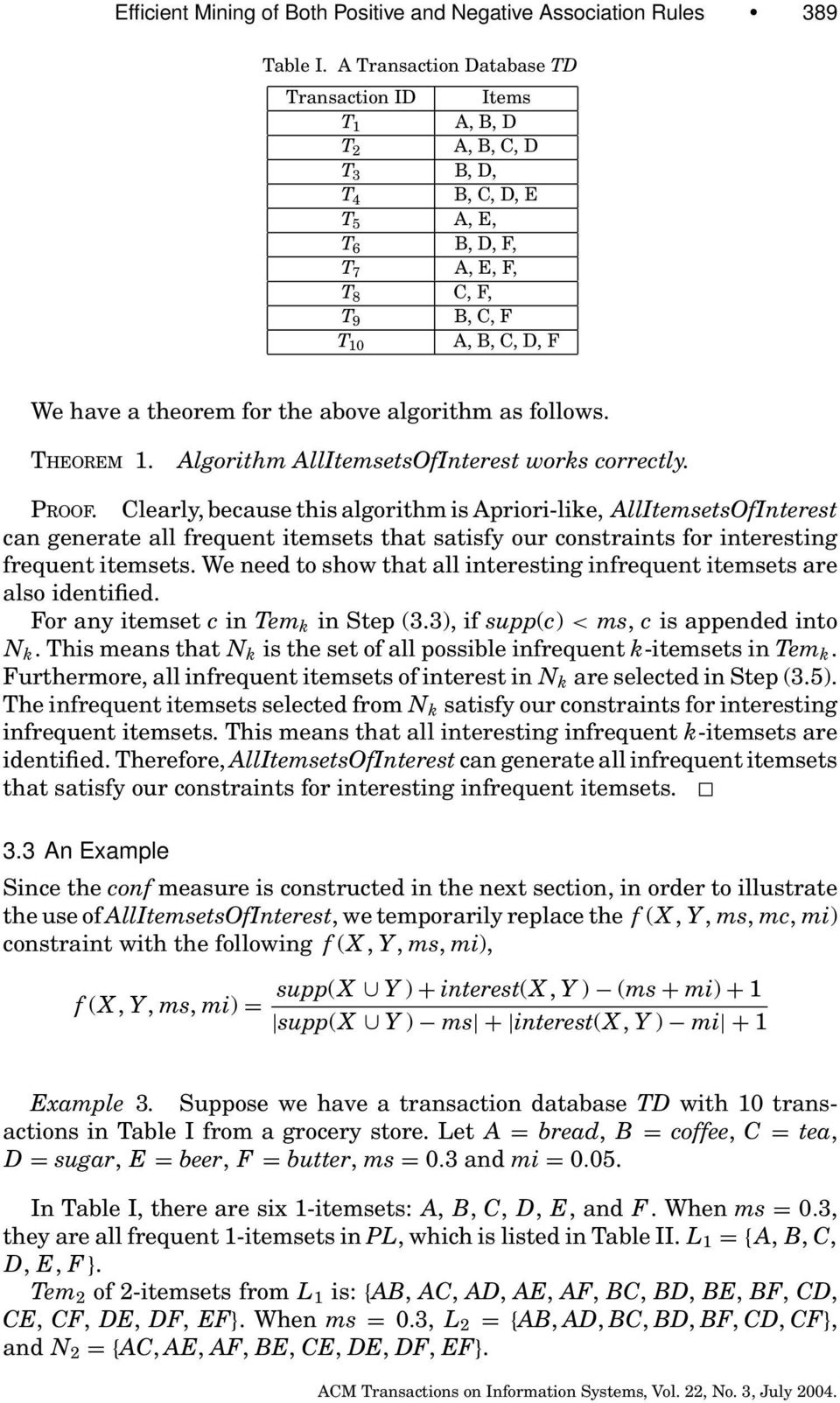 the above algorithm as follows. THEOREM 1. Algorithm AllItemsetsOfInterest works correctly. PROOF.