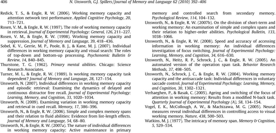 Working memory capacity and suppression. Journal of Memory and Language, 39, 418 436. Sobel, K. V., Gerrie, M. P., Poole, B. J., & Kane, M. J. (2007).