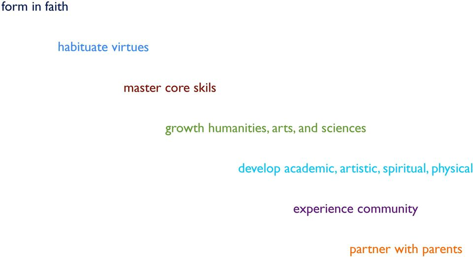 develop academic, artistic, spiritual,