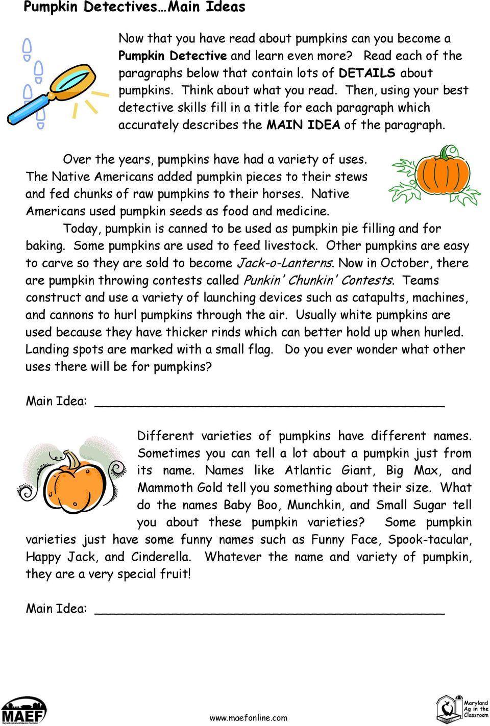 Then, using your best detective skills fill in a title for each paragraph which accurately describes the MAIN IDEA of the paragraph. Over the years, pumpkins have had a variety of uses.