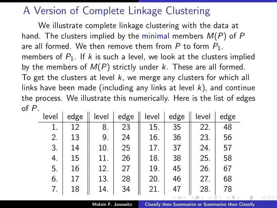 To get the clusters at level k, we merge any clusters for which all links have been made (including any links at level k), and continue the process. We illustrate this numerically.