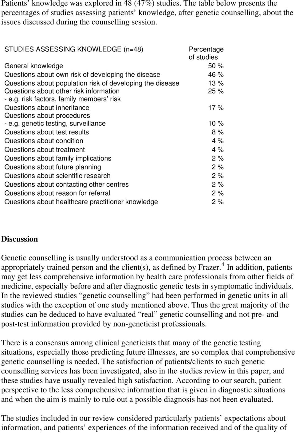 STUDIES ASSESSING KNOWLEDGE (n=48) Percentage of studies General knowledge 50 % Questions about own risk of developing the disease 46 % Questions about population risk of developing the disease 13 %